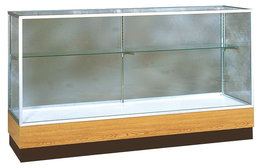 "Merchandiser Series Case Vinyl Finish: Light Oak, Frame Finish: Satin, Size: 40"" H x 60"" W x 20"" D"