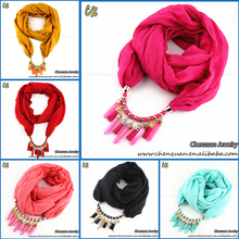 Best selling 2018 lady jewelry TR Cotton and linen neck scarf types with beads