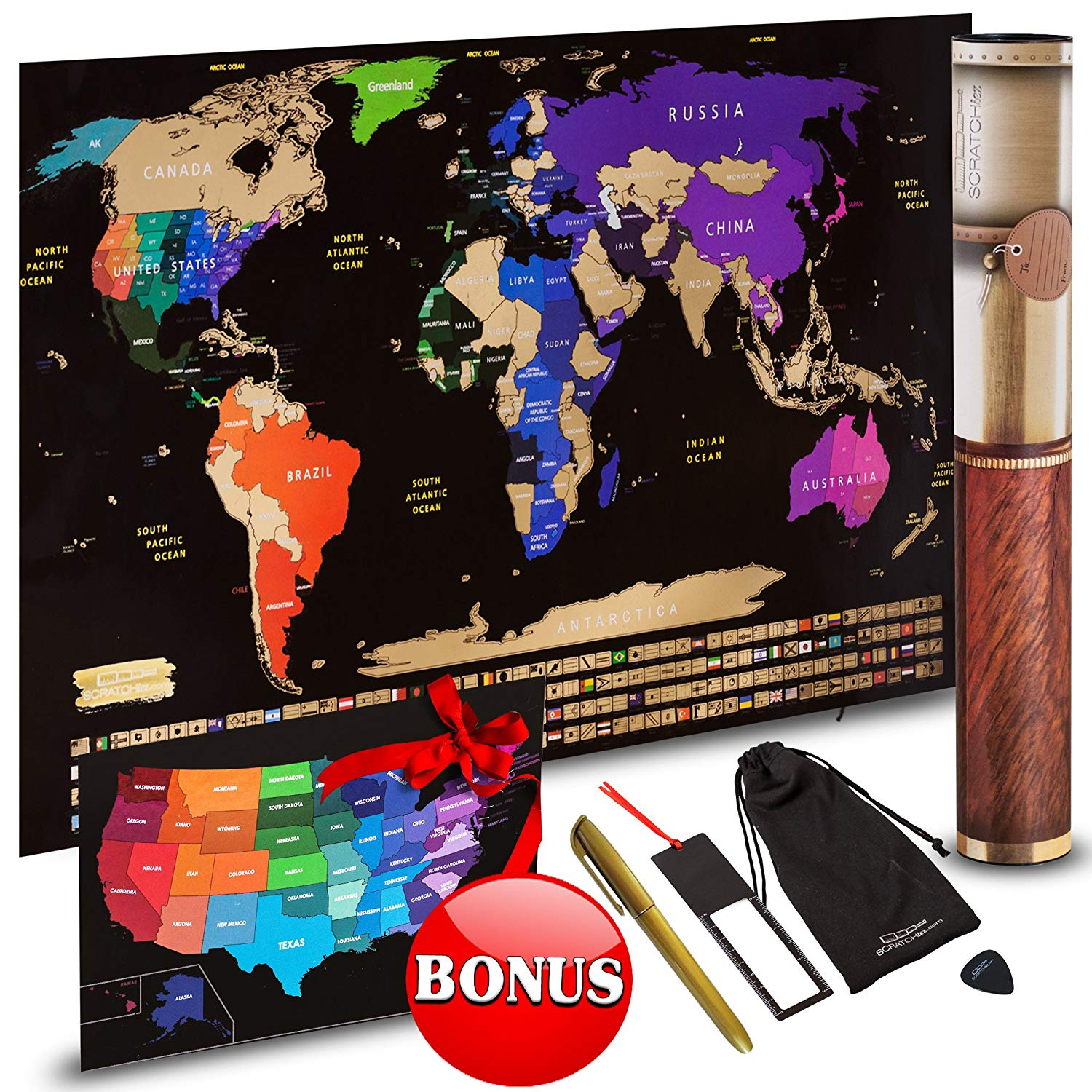 Scratch Off World Map Travel Gift Set – Scratch Art World Map Poster and Country Flags + FREE Scratchable US Map, Scratcher, Microfiber Cloth, Erasable Gold Pen – Wanderlust Wall Decor by SCRATCHiez
