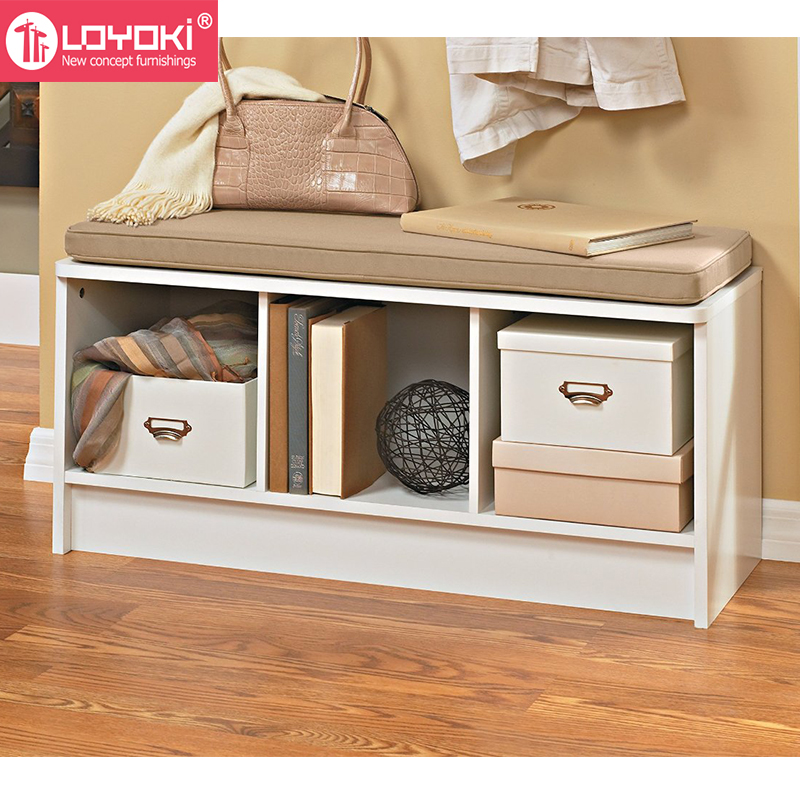 3 Cube Storage Bench With Cushion Seat Mdf Wood Shoe