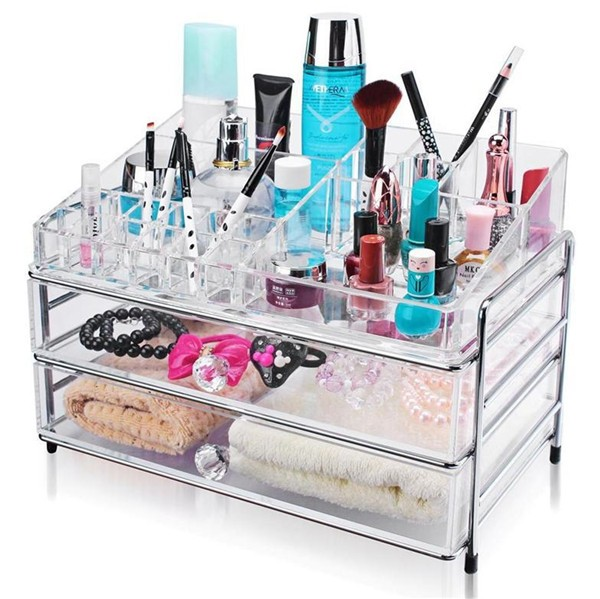 Manufacturer Custom Acrylic Jewellery Box Nail Polish Display 9 Drawer Acrylic Makeup Organizer Storage with Drawers