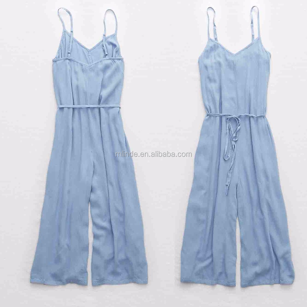 100% Rayon Wide Leg Adult Jumpsuits for Women Sexy Plain Dyed Denim Jumpsuit Women