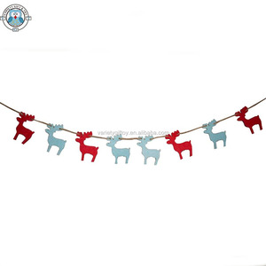 ECO FRIENDLY LASER CUT FELT CHRISTMAS REINDEER SHAPE GARLAND/BUNTING/BANNER FOR CHRISTMAS HOME DECORATION