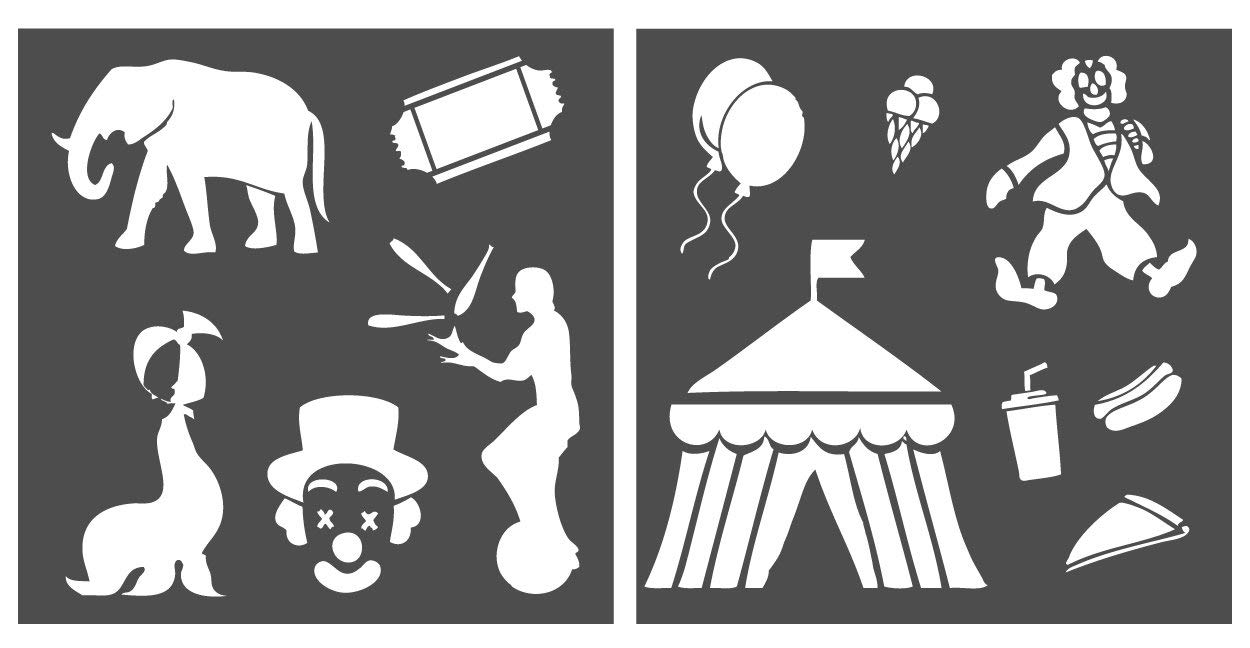 Auto Vynamics - STENCIL-CIRCUSSET01-10 - Detailed Circus / Carnival / Fair Stencil Set - Including Clowns, Tents, Seals, Elephants, & More! - 10-by-10-inch Sheet - (2) Piece Kit - Pair of Sheets