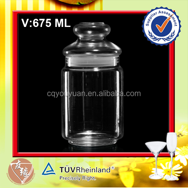 600ML Big Glass Storage Round Custom Hermetic Glass Jar