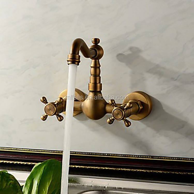 Wholesale 3 hole brass antique bronze wash sink tap in wall brass antique basin faucet MLFALLS