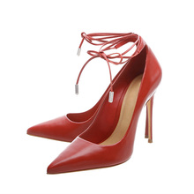 Wholesale red 12cm thin high heel point toe sexy 2018 bow strap ladies dressy party shoes