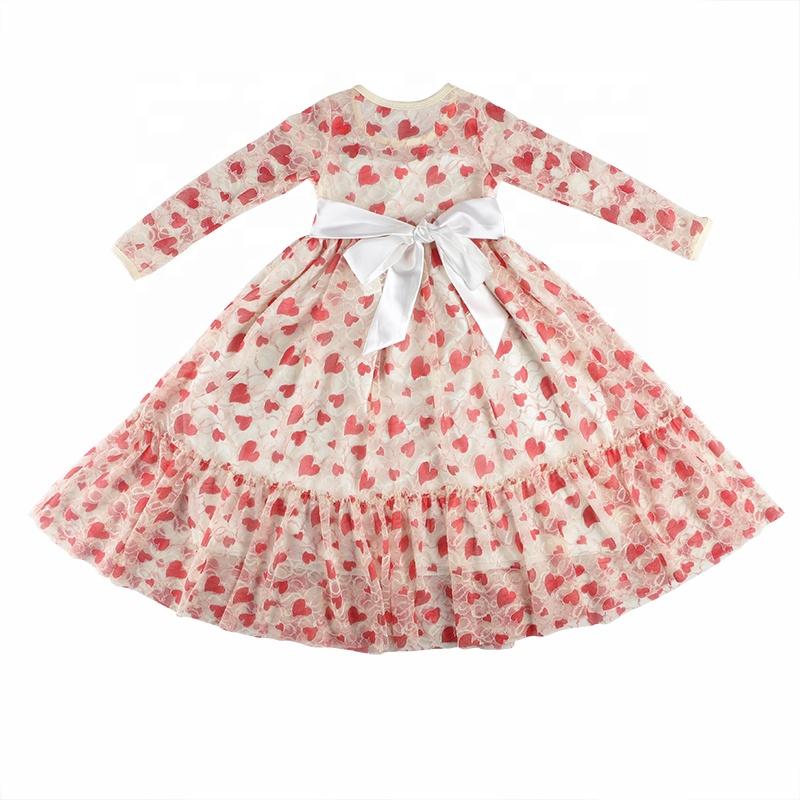 4df9004d441 Groothandel kinderen boutique kleding lange rode hart print peuter baby  jurk meisjes kanten jurk voor valentijnsdag