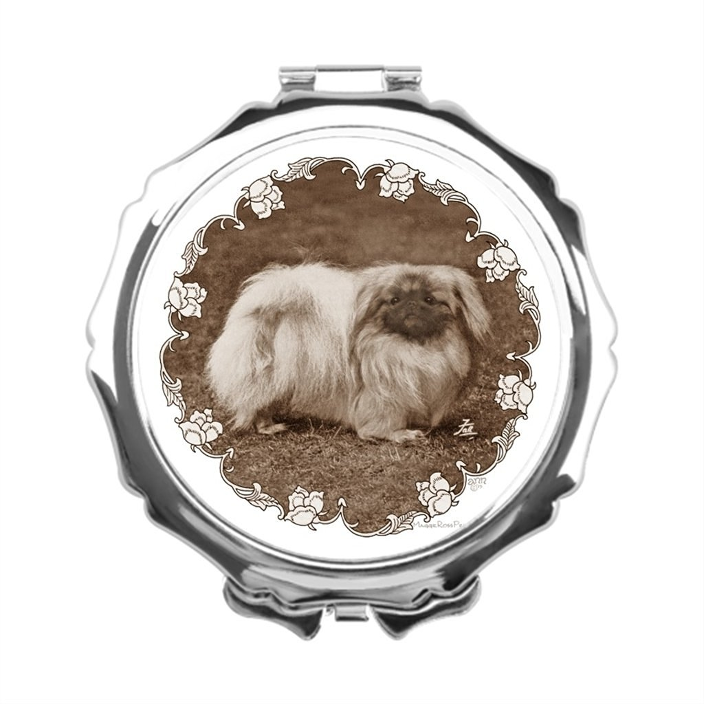 AbbyDay Portable Makeup Mirror Maggie Ross Dogs Mirrored Makeup Vanity Large Makeup Vanity Pekingese Mirror Compact