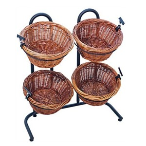 Customize 4 Wicker Basket Display Stand With Sign Clips -NEW Design