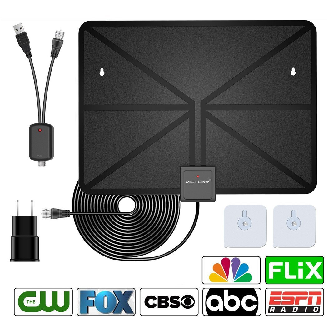VICTONY HD Digital TV Antenna,Indoor Amplified HDTV Antenna 60 Mile Range with Detachable Amplifier Signal Booster and 16.5 Feet Coaxial Cable - Support All Formats