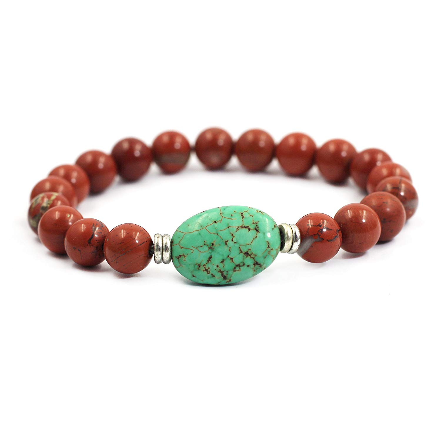 tom+alice Natural Gemstone 8MM Healing Beads Reiki Chakra Stretch Beaded Bracelets with Middle Ornament Womens Fashion (Red Stone Silver)