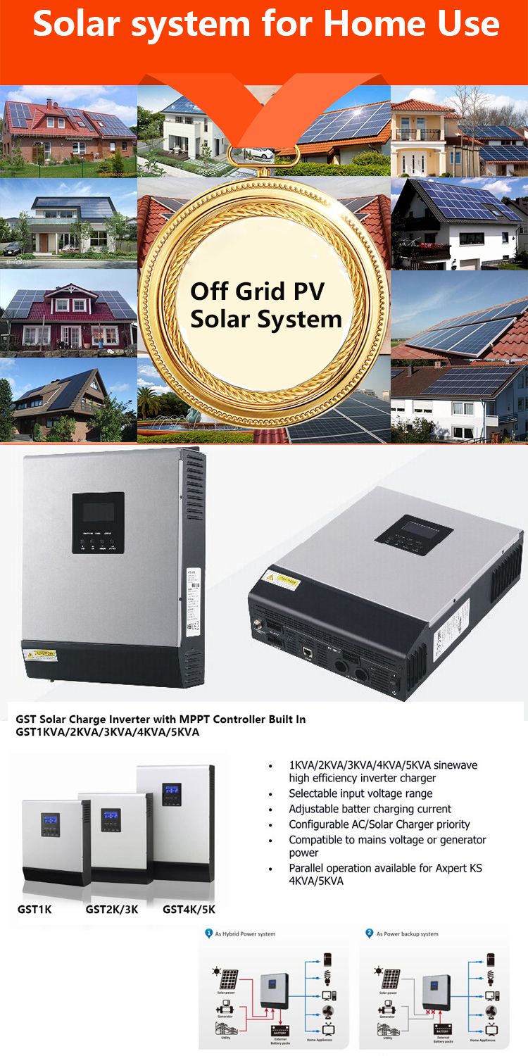 Hybrid solar power inverter 2kw 3kw 4kw 5kw 10kw on/off grid combined with MPPT solar charge controller