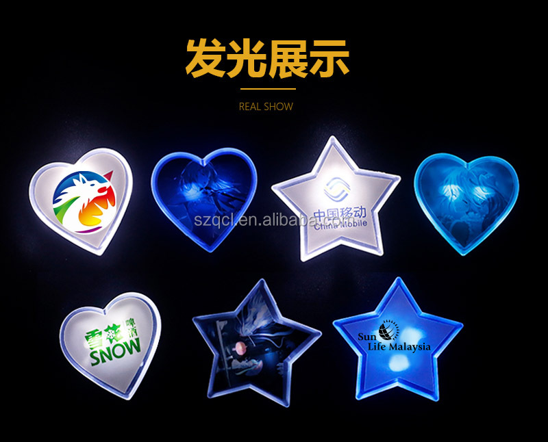 Promotional Items for Marketing Service Company Free Gifts Wonderful Customized LED Glowing Badge