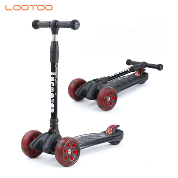 Multi colour foot pedal 3 three wheels toy led light folding t bar aluminum kids kick scooter for children from 2 years old
