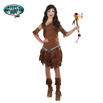 Teenager girls American Indian Costume with hairband for Wild West Cowboy Fancy Dress