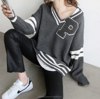 Korean fashion women loose knit pullover sport sweater