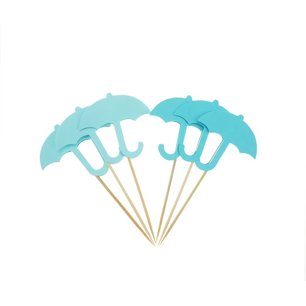 Blue Umbrella Cake Cupcake Toppers Picks for Wedding Birthday Baby Shower Party Decorations Supplies, Pack of 24 by GOCROWN