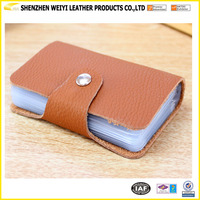 Great Quality Real Leather Name Card Holder With Eco-friendly PVC Inner Pages Fixture Bandage