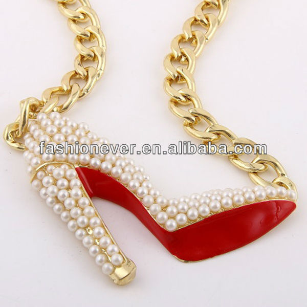 OVERSIZED Gold Pearl w/ Red Bottoms SHOE Pendant Chain NECKLACE Wedding Party