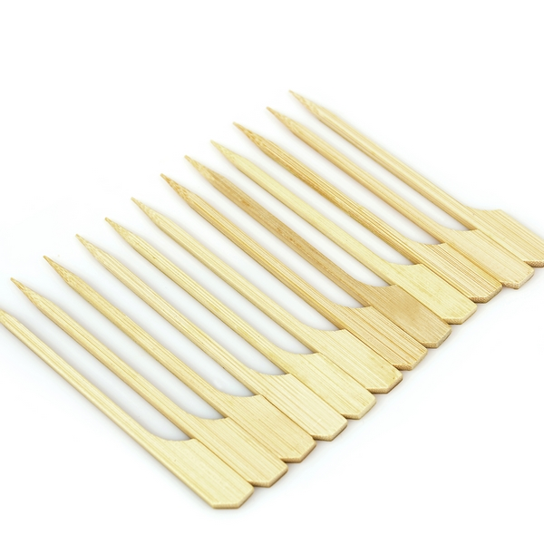 top quality 15cm BBQ flat <strong>bamboo</strong> skewer with handle <strong>sticks</strong>