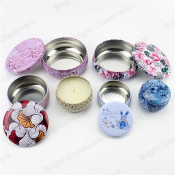 Round Metal Packaging Tins Jar Candle Tins with Lids