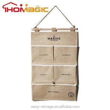 Charmant Natural Jute Wall Hanging Pocket Storage Organizer Bag