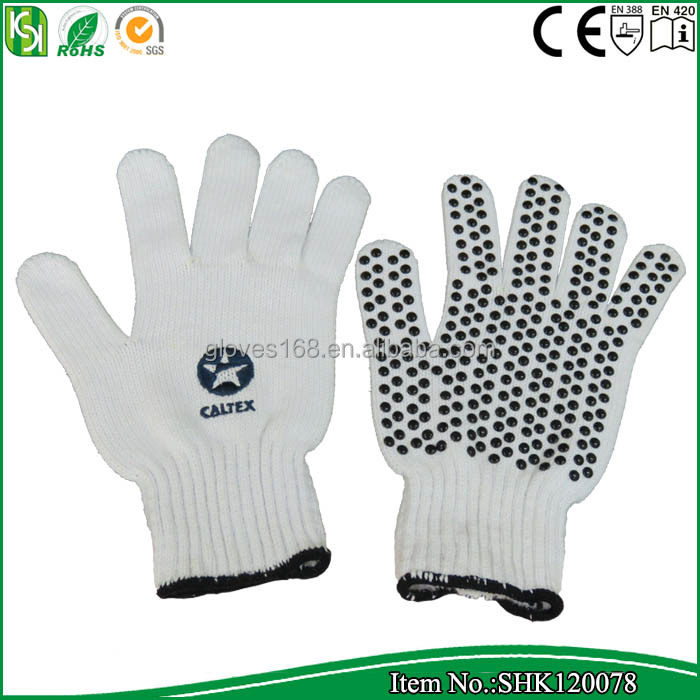 lavel A white cotton yarn knitted glove with pvc dotted on palm and logo print on the back