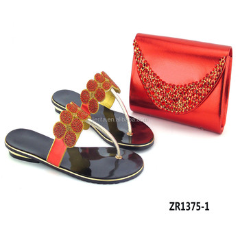 Zr1375 1 Nigeria Red Shoe Bag Set For Party Full Of Crystal