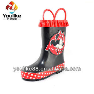 YL7202 Wholesale Cute Girls Wellies wrinkle collar wellington boots