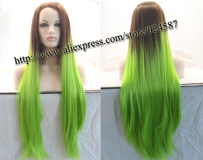 Green-Synthetic-Lace-Front-Wig-Glueless-Straight-Long ...