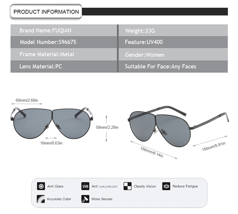 Fuqian women's aviator sunglasses company for lady-7