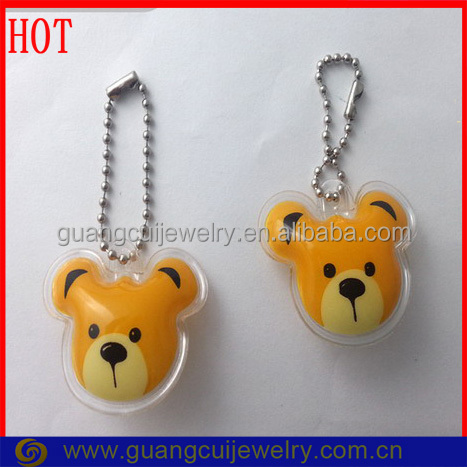 Customized logo printed bear head keychain key chain ring fill with cotton