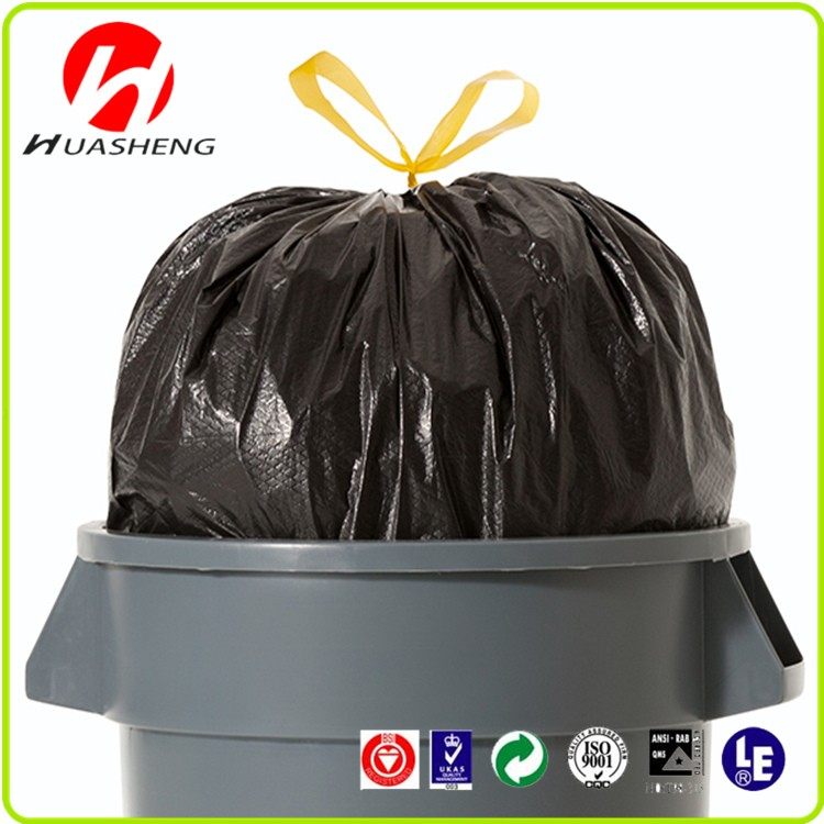 HDPE/LDPE Black Heave DUty Plastic Drawstring Garbage Bag For Bin