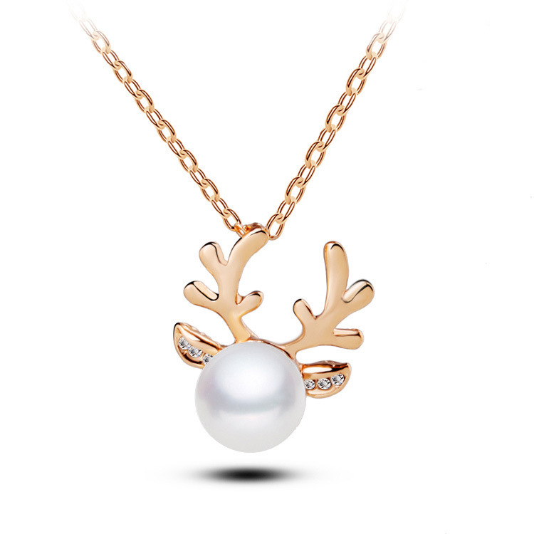 Summer Simple Anlter Style Necklaces With Pearl Saudi Gold ...