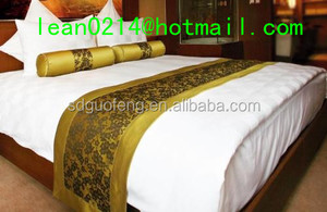 100% mercerized bleached calico fabric stripe satin cotton bed sheet for hotel