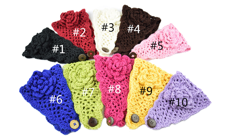 Hot Sell Flowers Pattern Soild Color Hair Accessories Button Closure Knitted Headband
