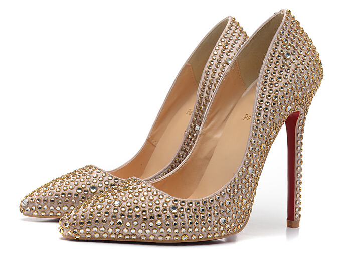 Get Quotations · Women gold shoes women elegant bride shoes pointed toe  cystal womens red bottoms high heel eab4f95b2d6c