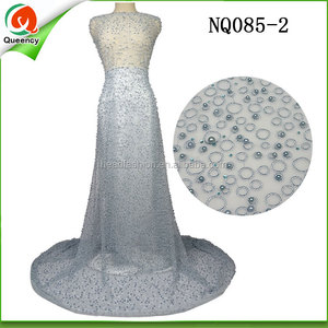 NQ085-2 African french lace fabric tulle lace with beads and round circle for making bridal wedding dress