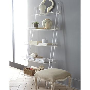 Modern Design High Transparent Acrylic Leaning Bookshelf