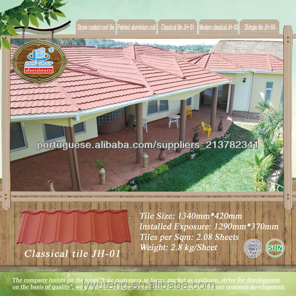 water/heat/low temperature/salt spray/alkaline resistance roofing materials stone coated roof tile