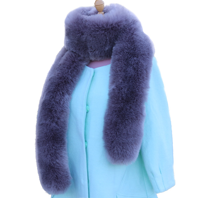 New 100% Natural Fur Collar Luxury Green Fox Fur Collar Ring Scarf Women Genuine Fox Fur Collar For Down Jacket Wholesale L02 High Safety Women's Scarf Sets
