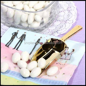 Candy Scoop Set Shiny Gold Plastic Scoops for Wedding and Party,custom plastic scoops manufacturer