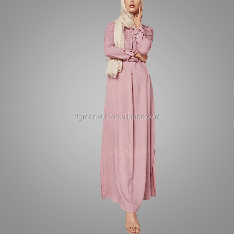 Simple Fashion Islamic Clothing Wholesale Pink Cheap Long Sleeve Kaftan Dress Women Wear