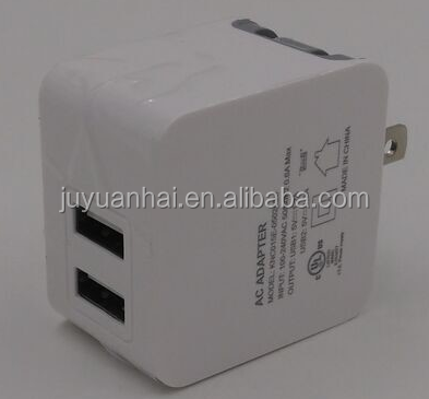 new premium Built-in IC Intelligent System 5V 2.4A Dual Port flat USB Travel Wall Charger