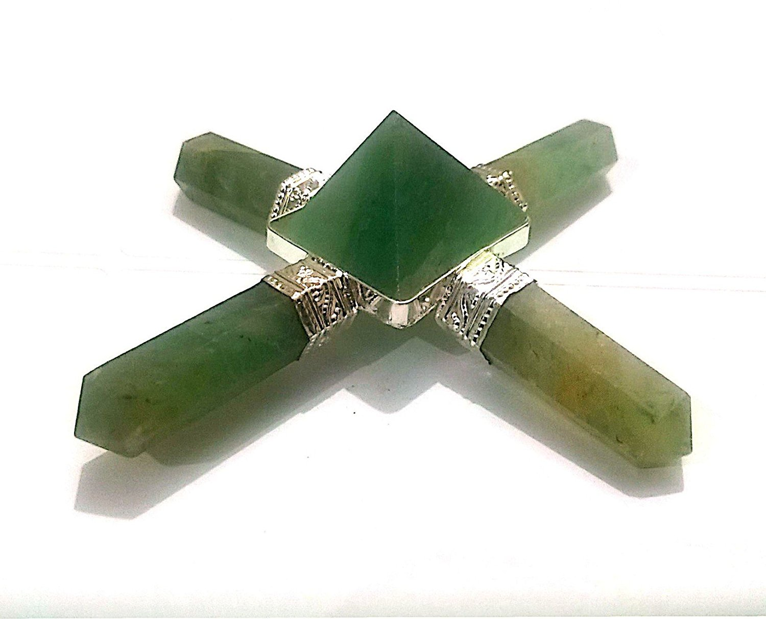 Healing Crystals India Natural Gemstone Green Aventurine Energy Generator 4 Point with Free eBook about Crystals Healing