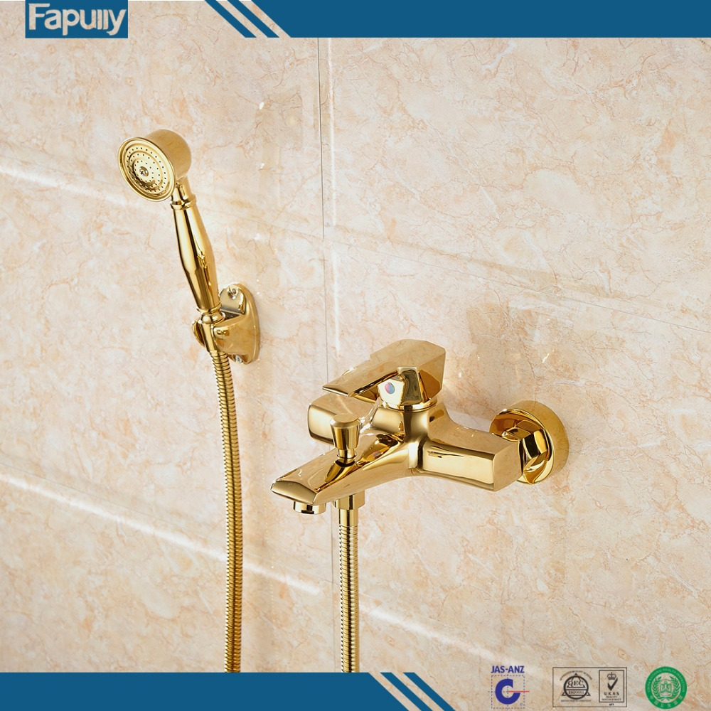 Fapully Gold Plated Brass Wall Mount Rain Shower System Shower Head Hand Shower