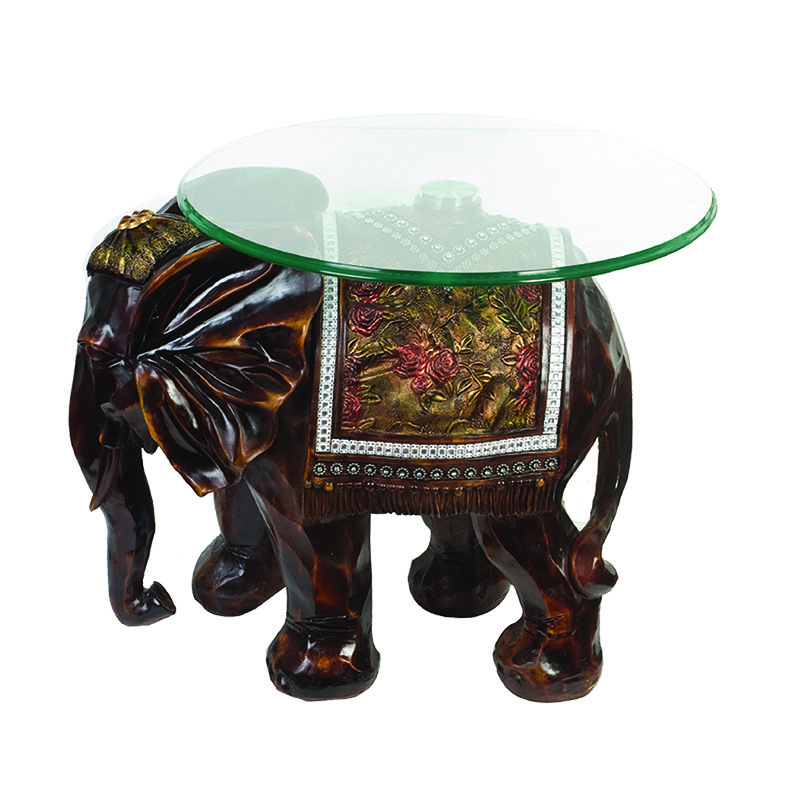 Resin animal elephant glass top round tea table G067M