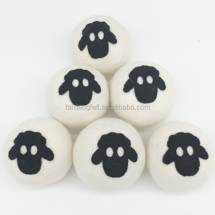 2017 bestseller amazon 6 pack sheep head private logo wool decorative dryer balls organic
