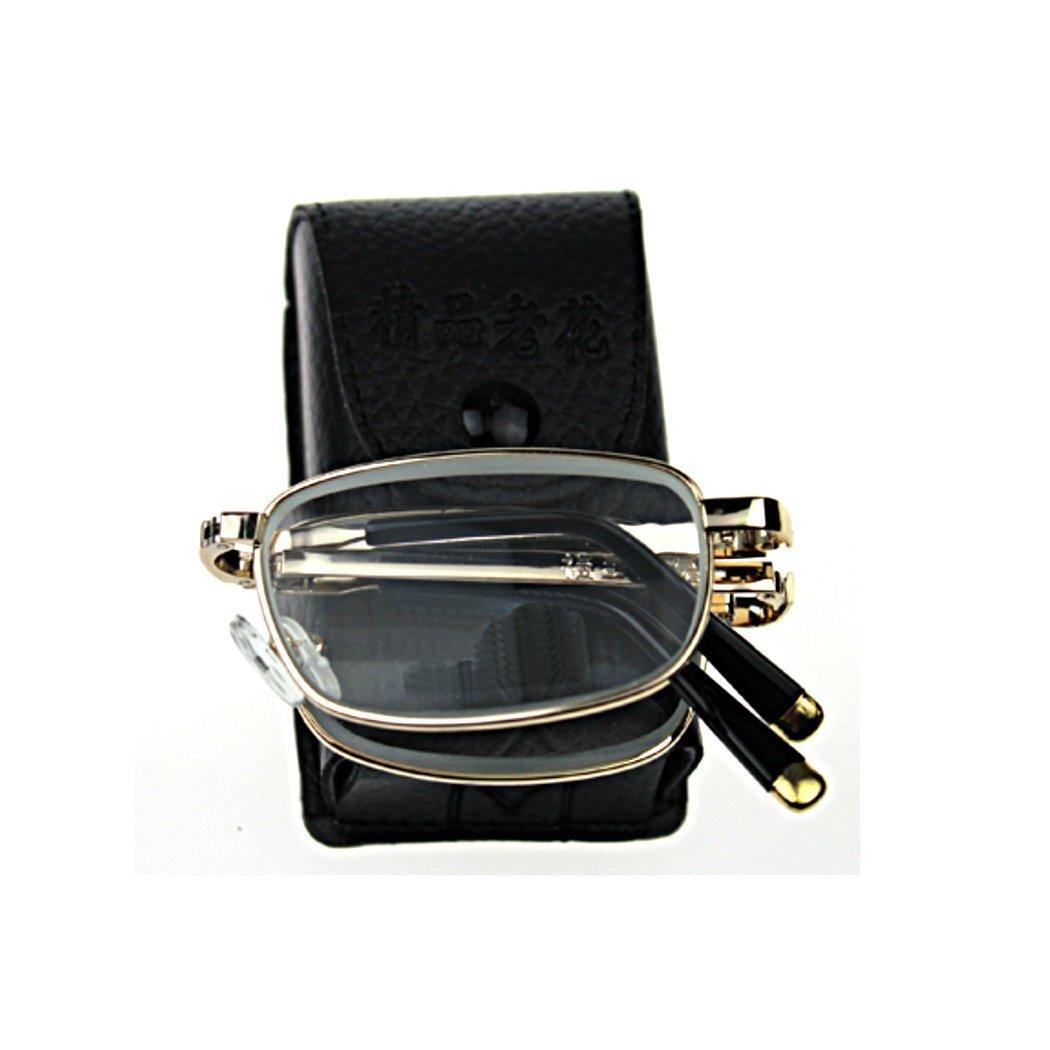 Unisex Ultra Compact Read Book Map Menu Foldable Folding Reading Glasses & Portable Mini Eyeglasses Zipper Case +2.50